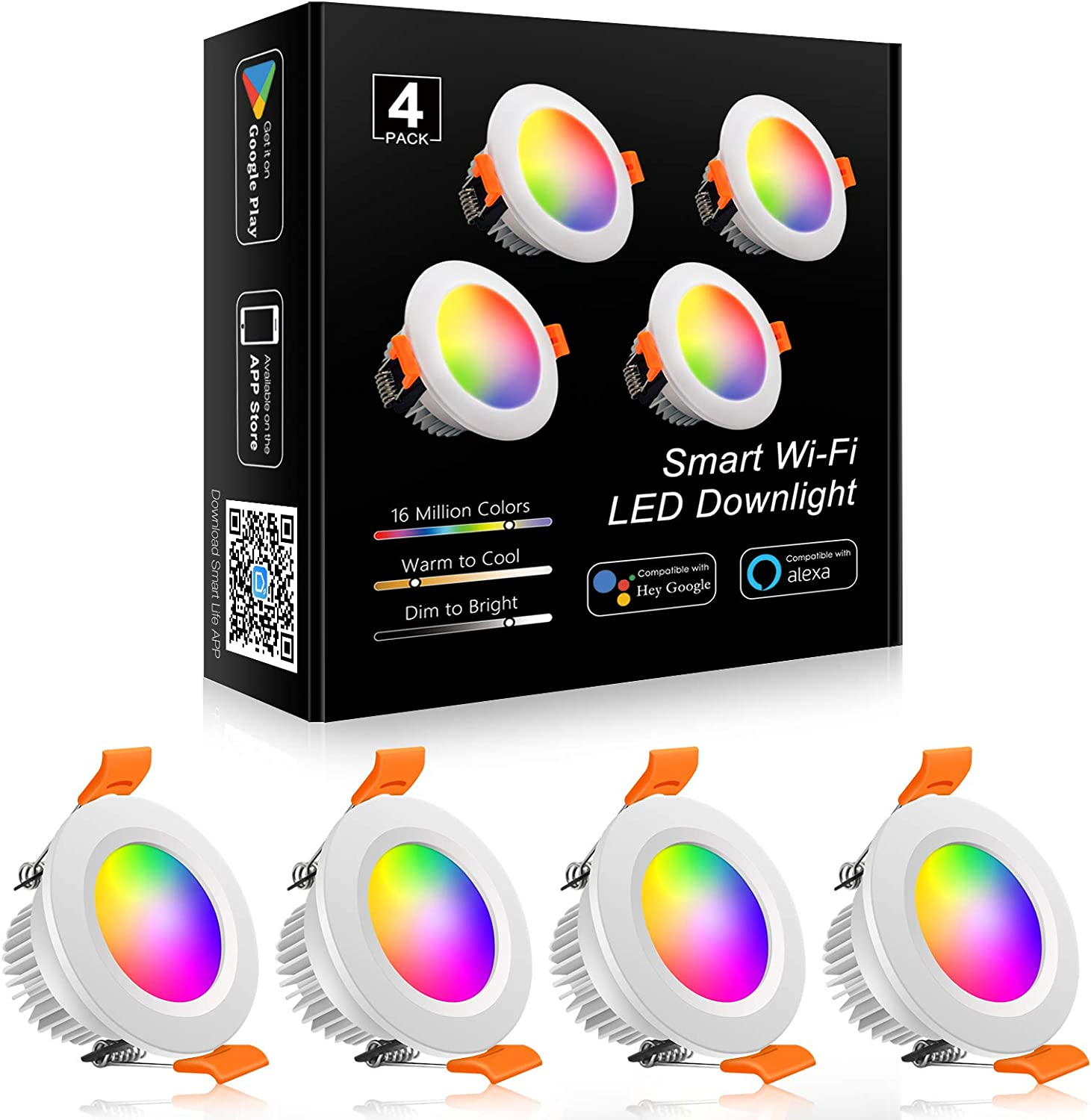 YGS-Tech WiFi Smart 2 Inch LED Recessed Lighting RGB Downlight, 5W Compatible with Alexa and Google Home, Dimmable RGB & CCT 2700-6500K Color Changing, 120V LED Ceiling Light with LED Driver (4 Pack)
