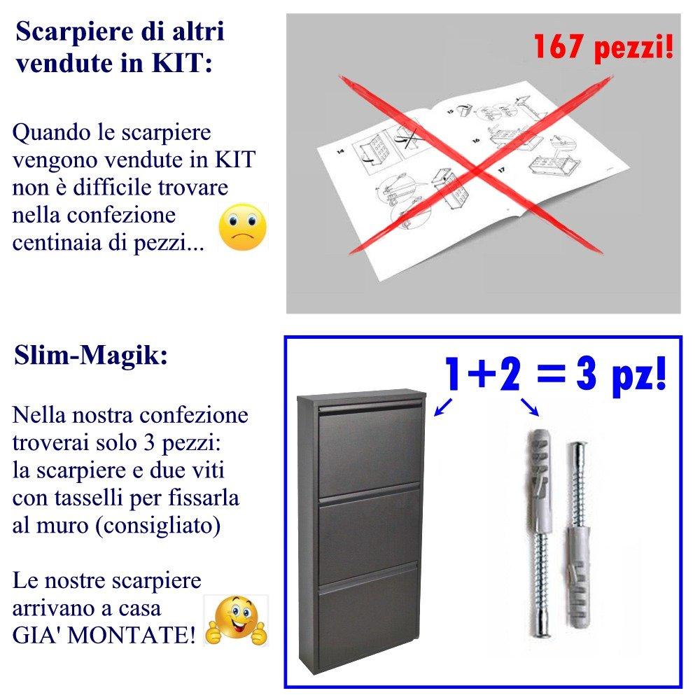 Gain despace 3 tiroirs 15 ans de garantie Meuble /à Chaussure italienne Noir peut contenir jusqu/à 9 paire de chaussures ou des bottes en seulement 14 cm -fabriqu/é en t/ôle dacier