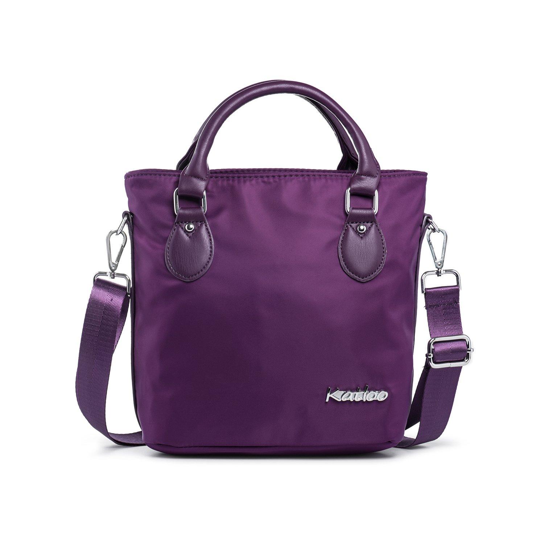 Katloo Top Handle Bag Small Nylon Handbags for Women Crossbody Tote Bags Handbag Purses Lightweight Water Resistant (Purple)