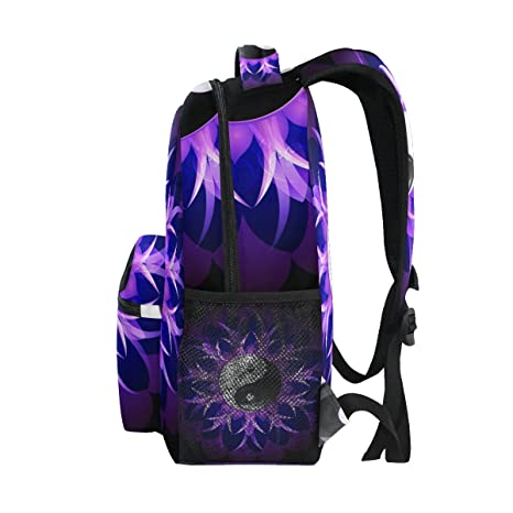 Amazon.com : GIOVANIOR Purple Lotus Yin Yang Floral Backpack School Bag Bookbag Hiking Travel Rucksack : Sports & Outdoors
