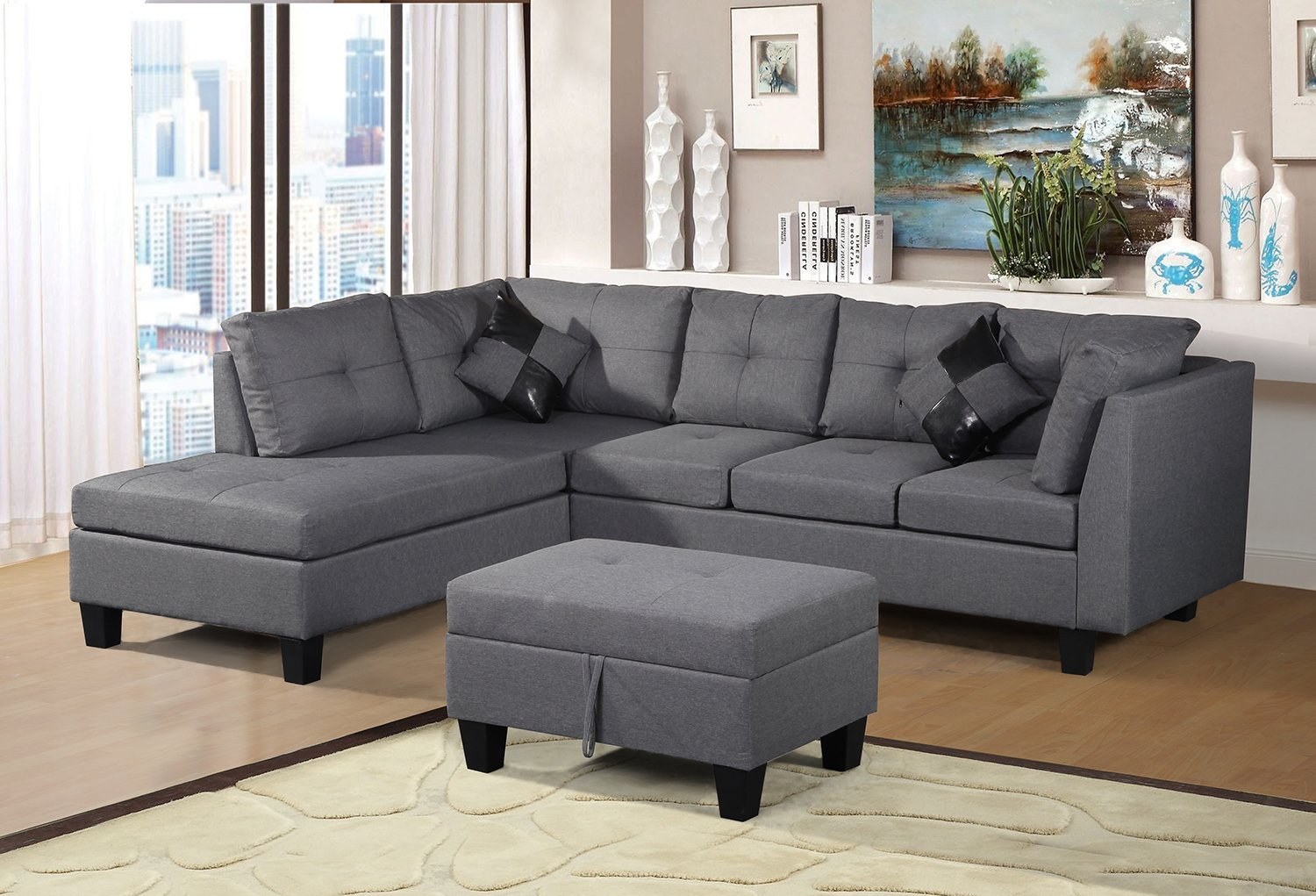 the best attitude 62571 f7569 Merax Sofa 3-Piece Sectional Sofa with Chaise Lounge/Storage Ottoman/7 Back  Cushions/2 Throw Pillows (Gray.) by Harper&Bright Designs