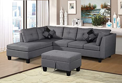 Merax Sofa 3-Piece Sectional Sofa with Chaise Lounge/Storage Ottoman/7 Back  Cushions/2 Throw Pillows (Gray.) by Harper&Bright Designs