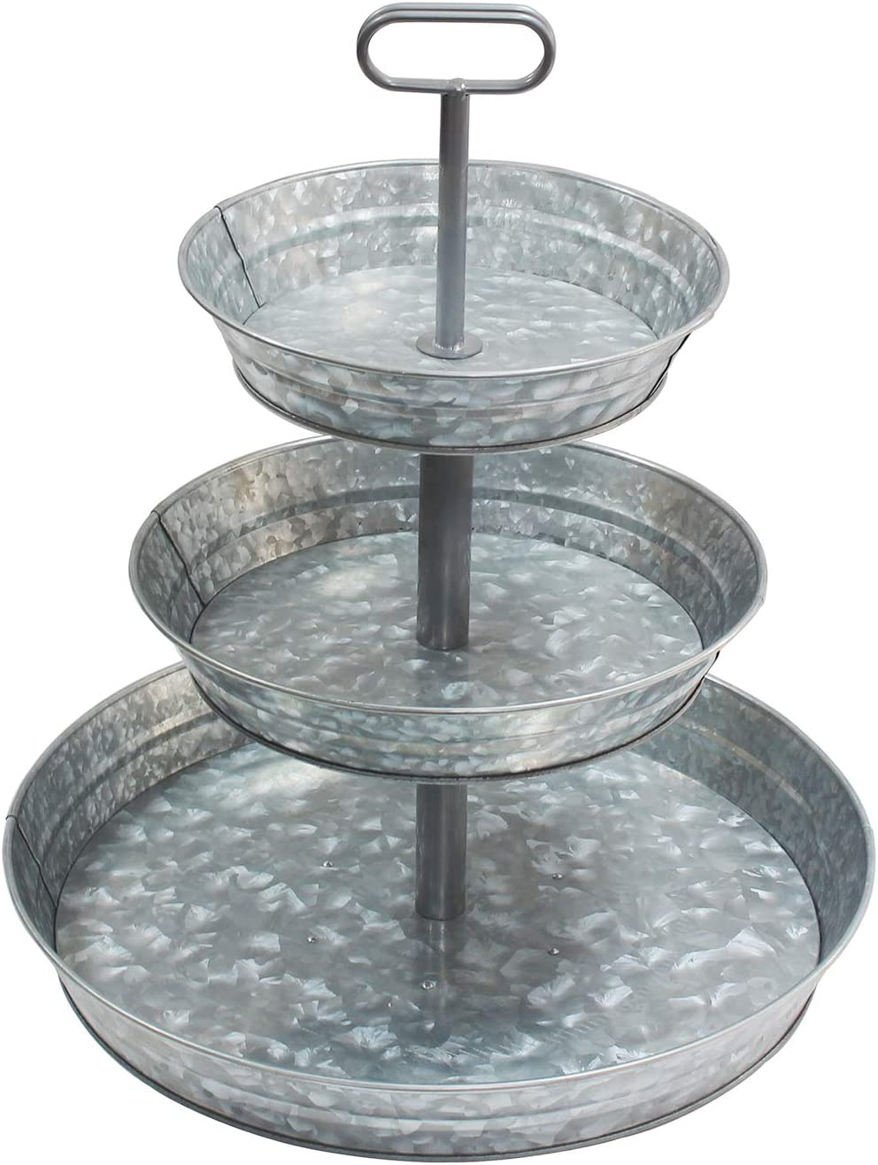4W 3 Tiered Serving Stand, Galvanized Tiered Tray with Handles Rustic Style Metal Tiered Serving Tray for Parties Outdoor Activities for Dessert, Fruit, Cupcake, Farmhouse Décor and Display Stand
