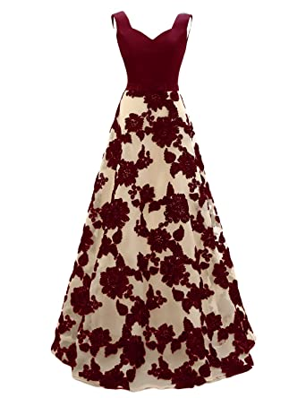 JoJoBridal Womens A Line Floral Long Evening Dresses Prom Gowns Burgundy Size 2
