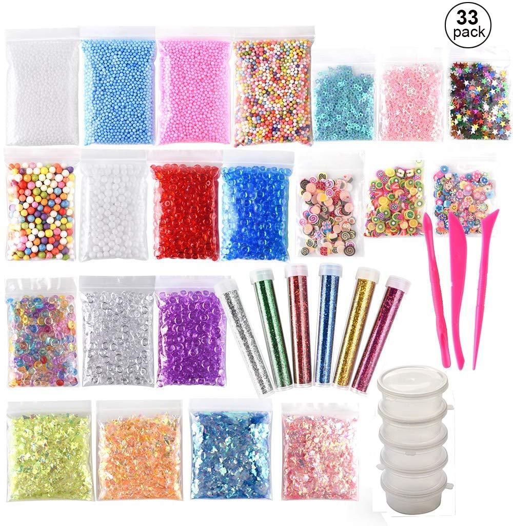 (33 piezas) OOTSR Kit de limo incluye bolas de espuma, cuentas de pecera, lentejuelas con brillo, rebanadas, papel de azúcar, polvo con brillo, ...