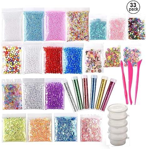(33 piezas) OOTSR Kit de limo incluye bolas de espuma, cuentas de pecera