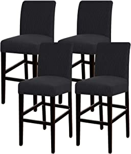 Turquoize Stretch Bar Stool Cover Counter Stool Pub Chair Slipcover for Dining Room Cafe Barstool Slipcover Removable Furniture Chair Seat Cover Jacquard Fabric with Elastic Bottom Set of 4, Black