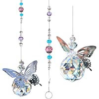Hisredsun 2 PCS Butterfly Crystal Prism Ball Chandelier Decor Rainbow Sun Catcher Prisms Window Hanging Prism Ball with…