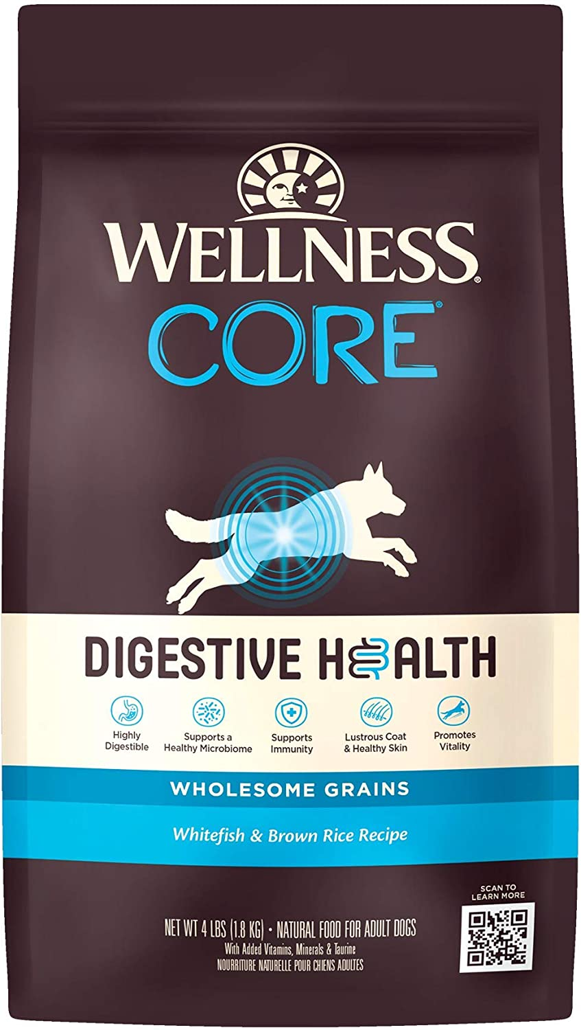Wellness Natural Pet Food CORE Digestive Health Whitefish & Brown Rice Dry Dog Food, 4-Pound Bag (89806)