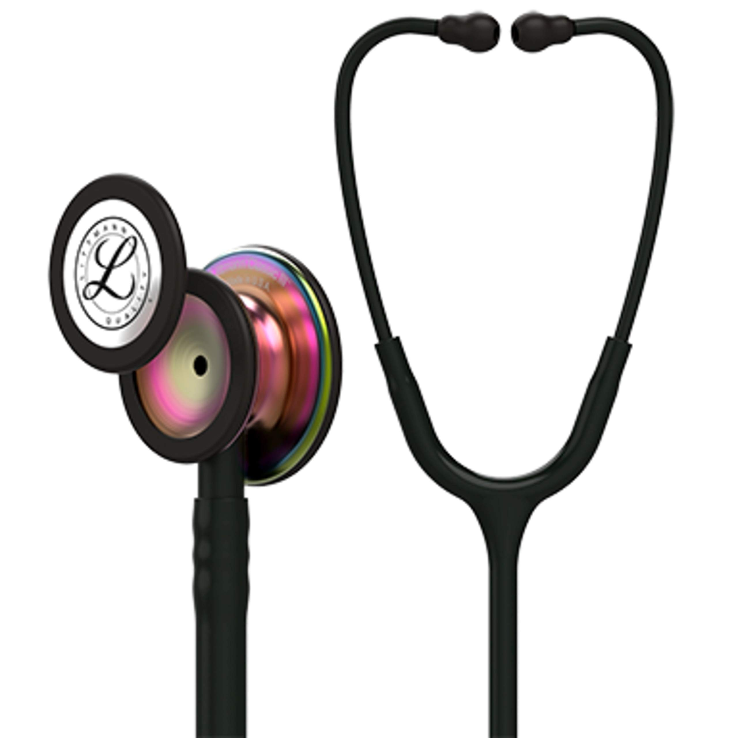 3M Littmann  Classic III Monitoring Stethoscope, Rainbow-Finish Chestpiece, black stem and headset, Black Tube, 27 inch, 5870
