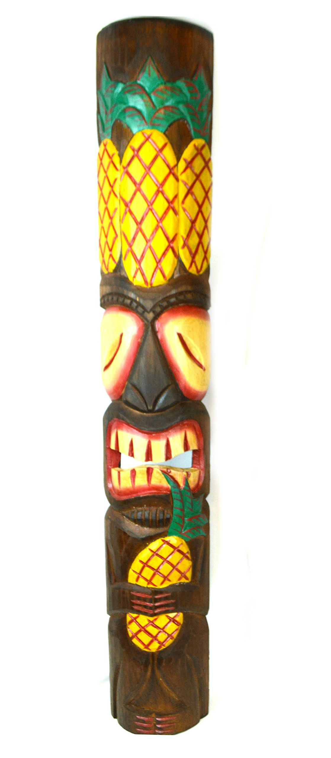 40 in Tribal Triple Pineapple Welcome Polynesian Tiki Bar Mask Hand Carved Island Tropical Decor by WorldBazzar
