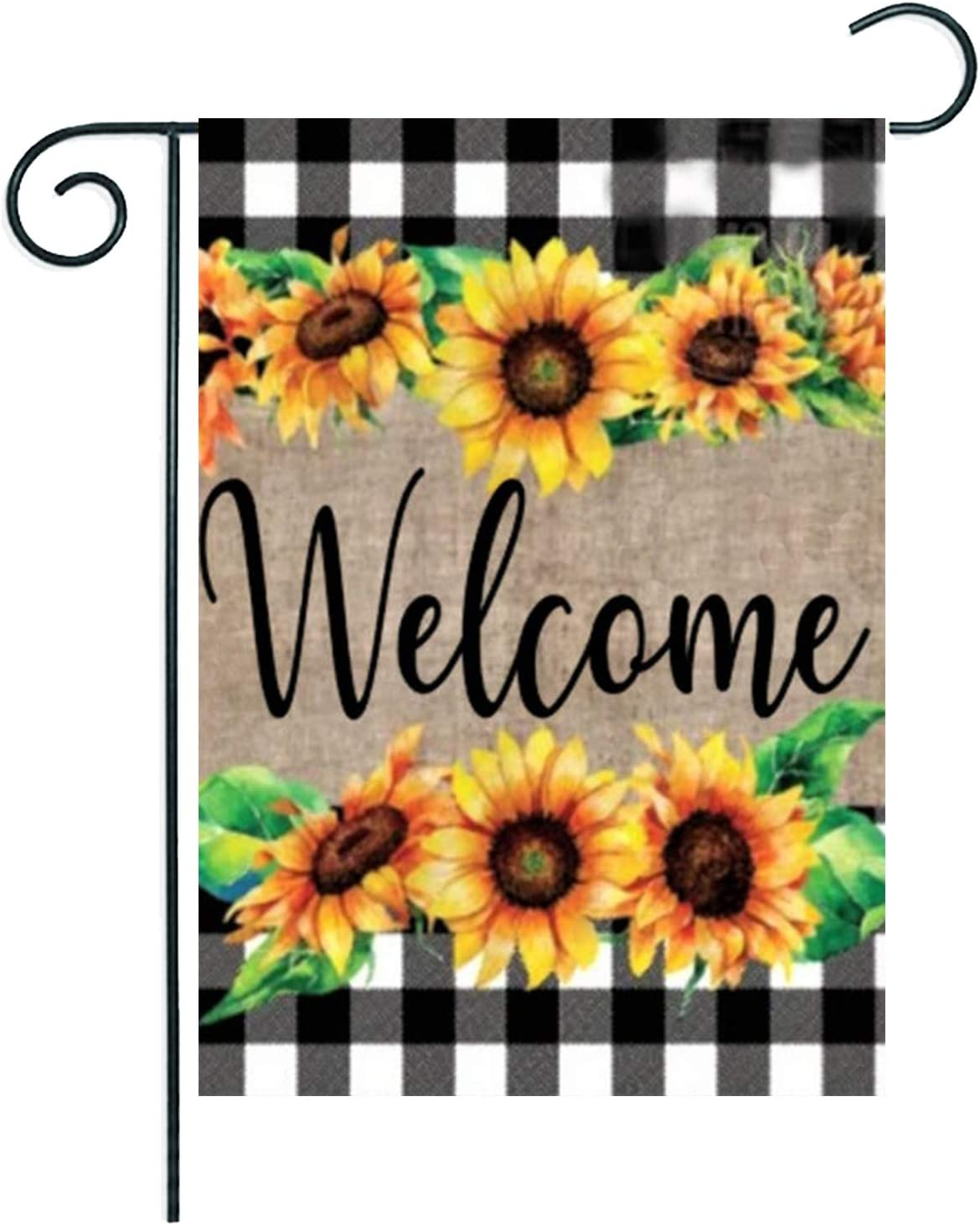 Welcome Sunflower Cluster Baster Garden Flag 12.5x18 Inch Vertical Double Sided, ArtStudy Black White Buffalo Check Plaid Spring Floral Lawn Yard Flag for Thanksgiving Housewarming Wedding Gift
