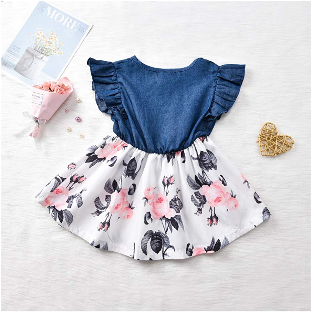 T TALENTBABY Newborn Girls Dresses Kids Baby Pretty Denim Bowknot Print Sleeveless Princess Party Summer Dresses Toddler Skirt Gifts