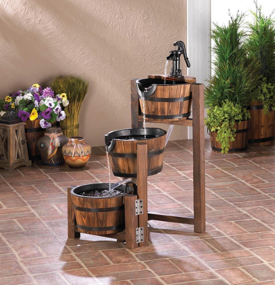 Apple Barrel Cascading Water Fountain 3 Tier FIRWOOD Outdoor GARDEN YARD PATIO by Fountains
