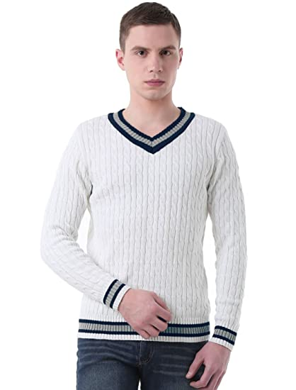 Uxcell Men V Neck Cable Pattern Ribbed Long Sleeves Pullover Knitted