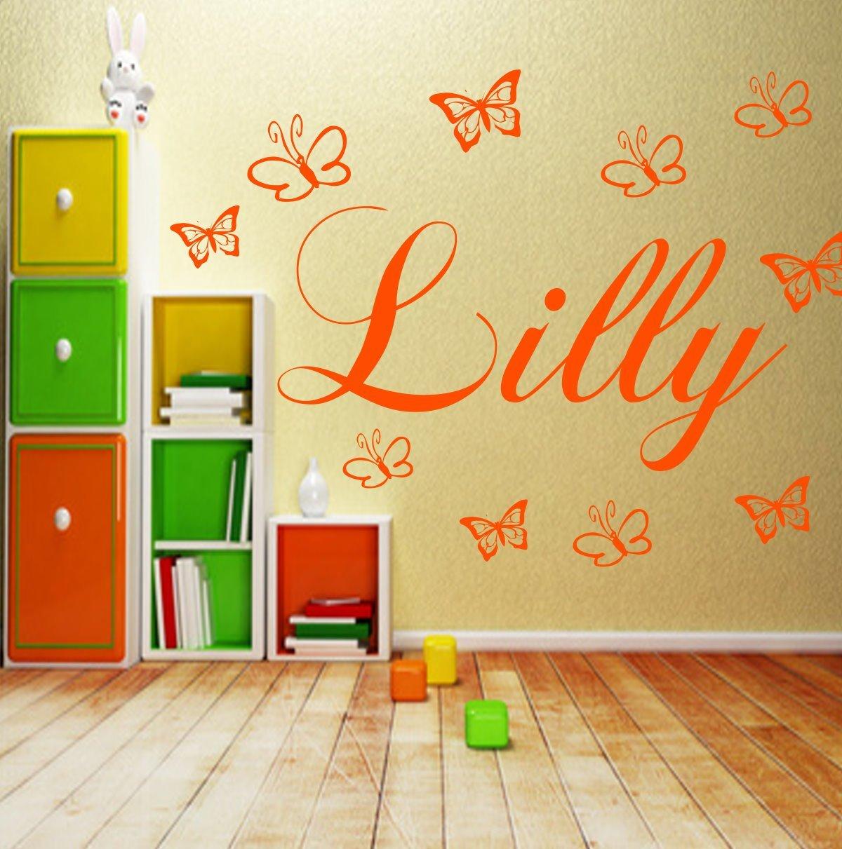 Wandtattoo Kinderzimmer Personalisiert Wunsch Namen Mit 10 Schmetterlingen Jungen Madchen Wandaufkleber Baby Anfertigung 21 Farben Kinderzimmer Baby