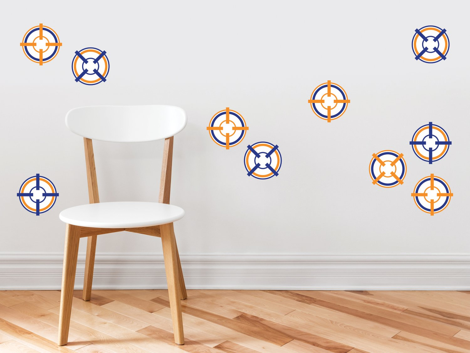 Bulls Eye Target Wall Decals - Set of 10 Soft Bullet Darts Targets - Kids Bedroom, Living Room Art Decor, Removable Fabric Wall Stickers