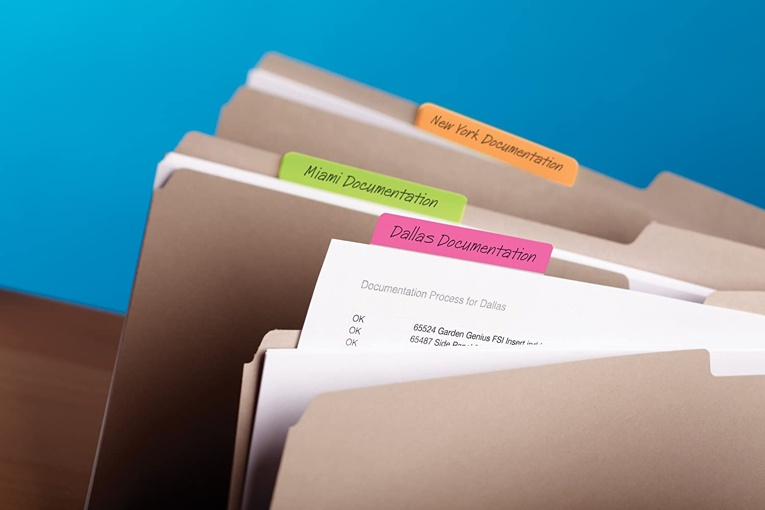Post-it Tabs, 3 in, Solid, Assorted Bright Colors, Durable, Writable, Repositionable, Sticks Securely, Removes Cleanly, 6 Tabs/Color, 4 Colors, 24 Tabs/Pack, (686-PLOY3IN) : Color Coding Labels : Office Products
