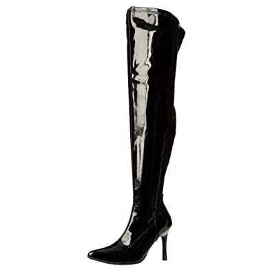 9be671970d4 Funtasma 3 3/4 Inch High Heel Boots Wide Calf Boots Thigh High Pointed Toe