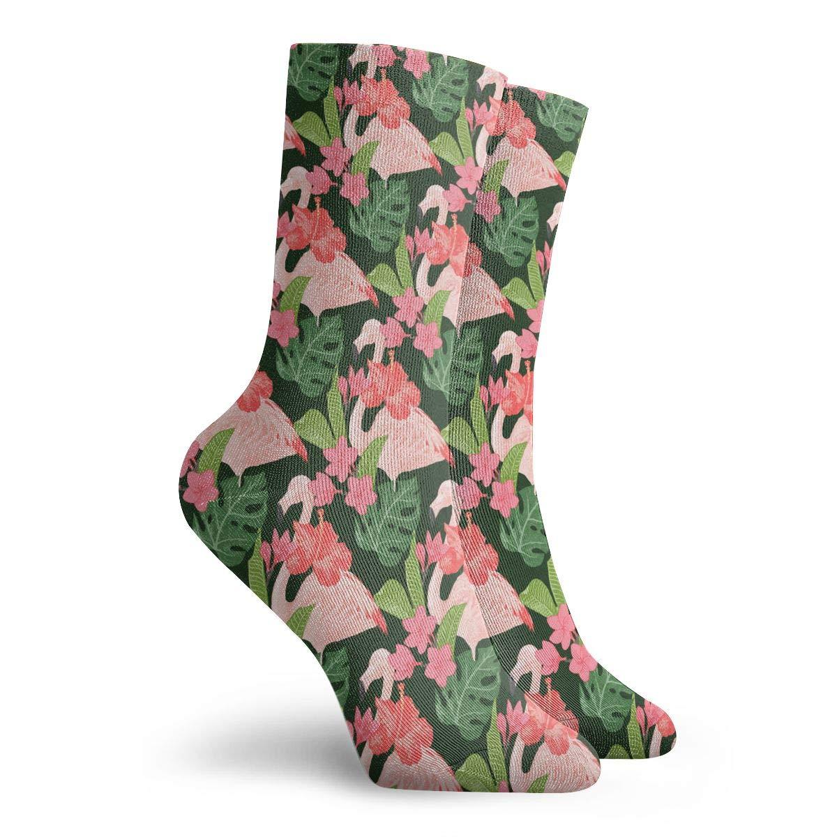 Unisex Pink Flamingo Pattern Athletic Quarter Ankle Print Breathable Hiking Running Socks