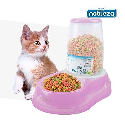 Dispensador de comida para perros o gatos Nobleza, de polipropileno color rosa y transparente,
