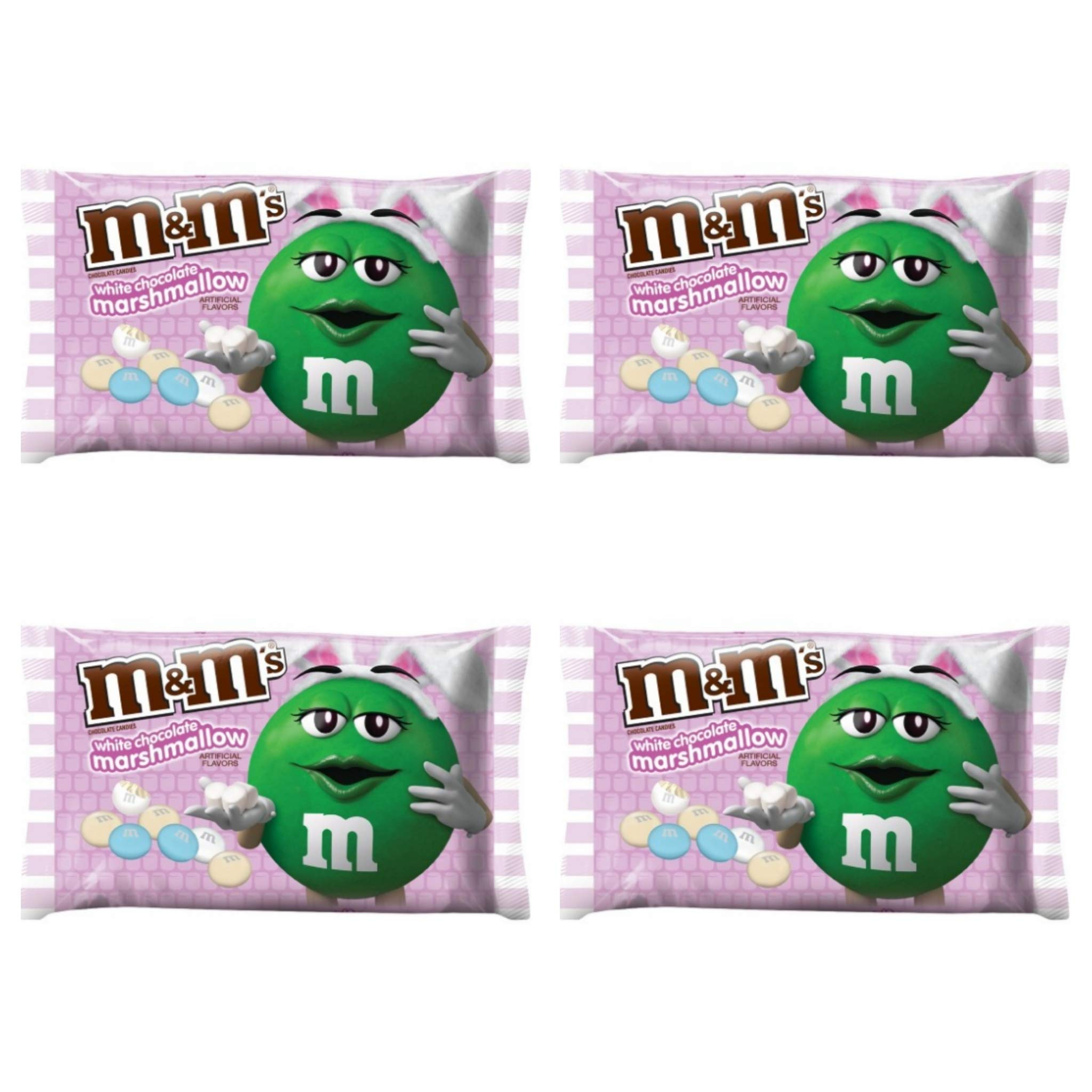 M&Ms White Chocolate Marshmallow Easter Candy - Pack of 4 Bags - 8 oz per Bag