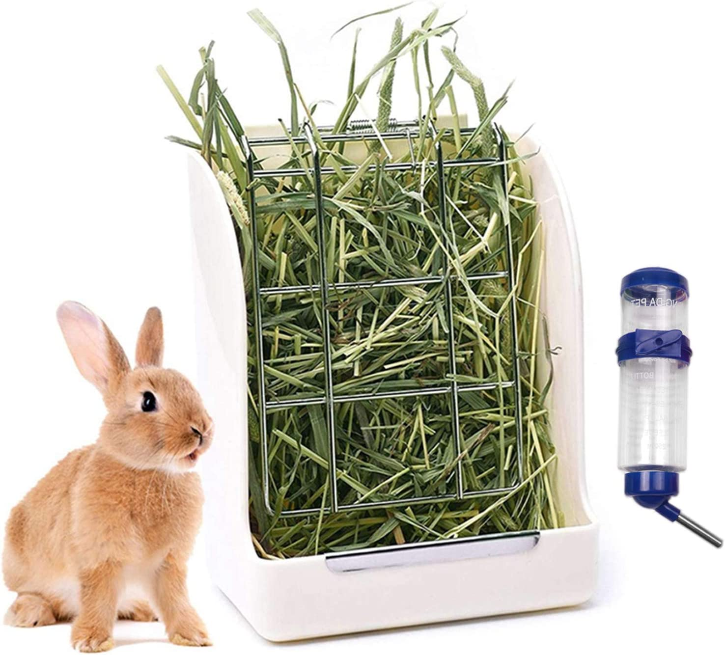 Rabbit Hay Feeders Rack,Bunny Water Bottles Dispenser,Hay Food Bin, 2 in 1 Feeder Bowls Double for Grass/Food for Small Animal Supplies Rabbit Chinchillas Guinea Pig Hamsters