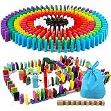 ドミノ倒し 積み木 360個 12色 ギミック 仕掛け 10種セット 知育玩具 天然木製 おもちゃこども 誕生日 プレゼント 並べる用道具と収納袋つき