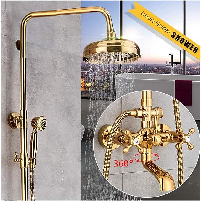 TANGAN Columna de Ducha Oro Sistema de Ducha Multifuncional Doble ...