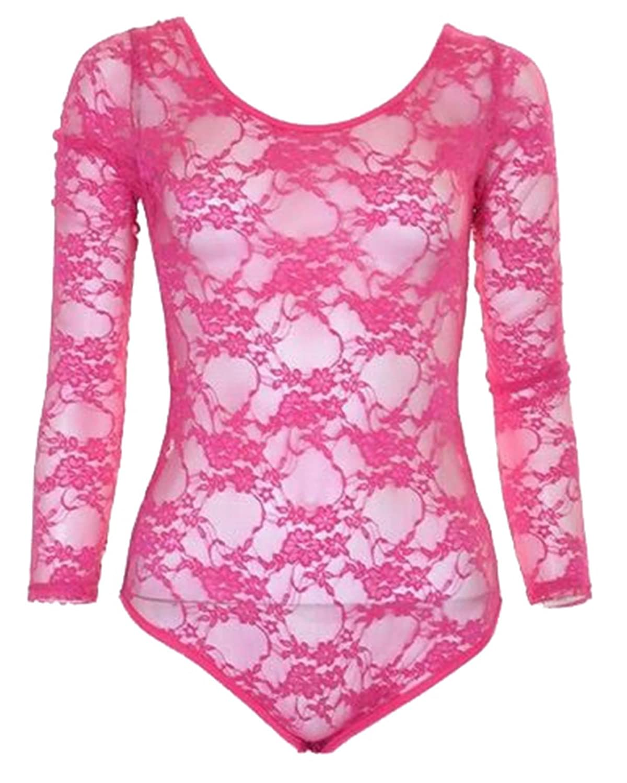 New Womens Neon Blumenspitze Voll Sleeve Gymnastikanzug Body Top 36-42:  Amazon.de: Bekleidung