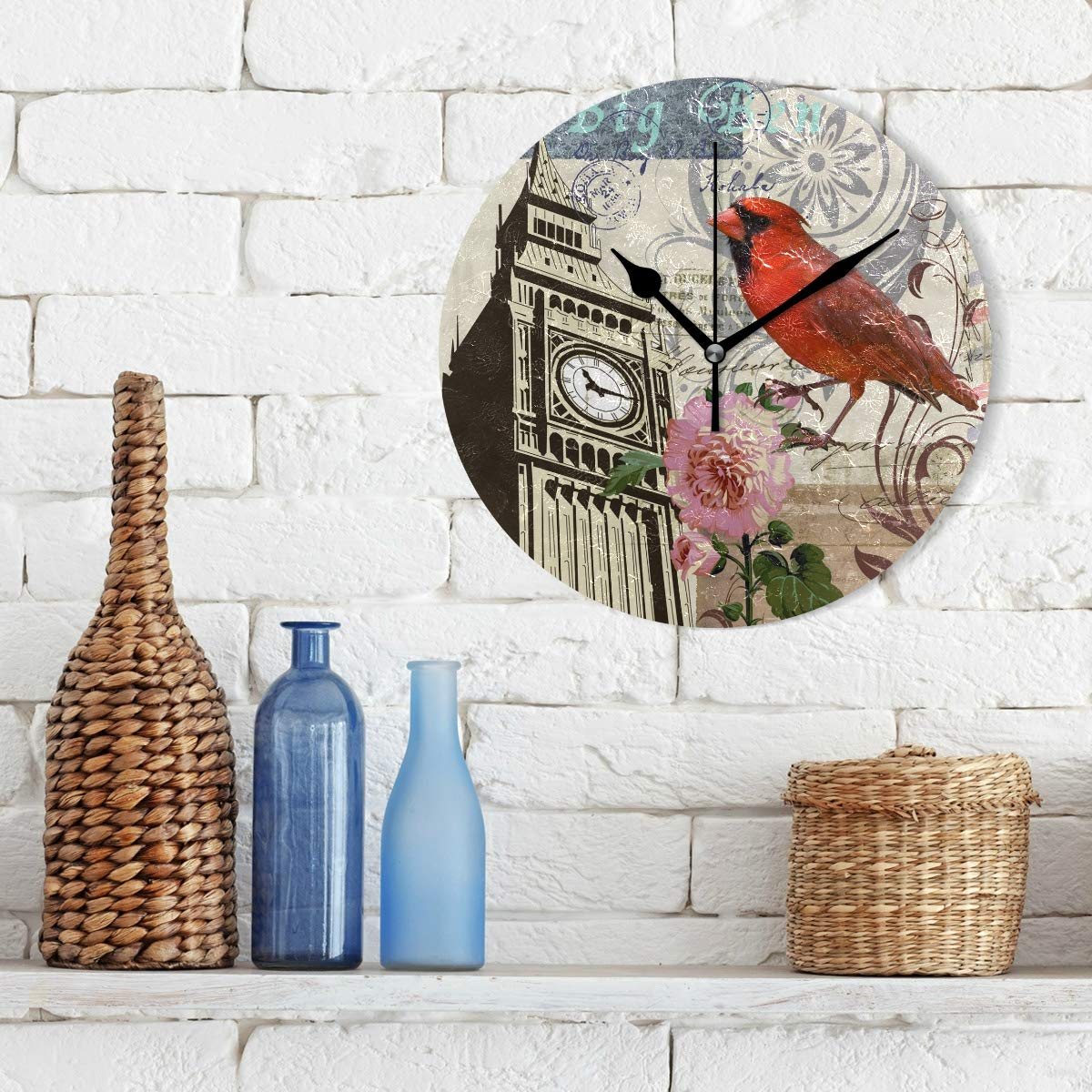 Amazon.com: IVERS Cardinal Big Ben Novelty Art Decorative Round Wall Clock: Home & Kitchen