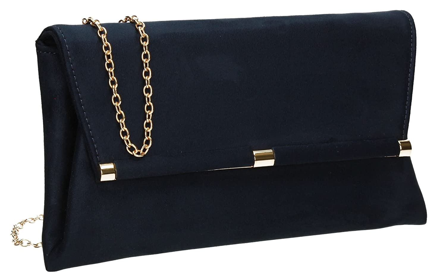 Pamela Suede Velvet Finish Envelope Leather Womens Party Prom Ladies Clutch Bag - SWANKYSWANS