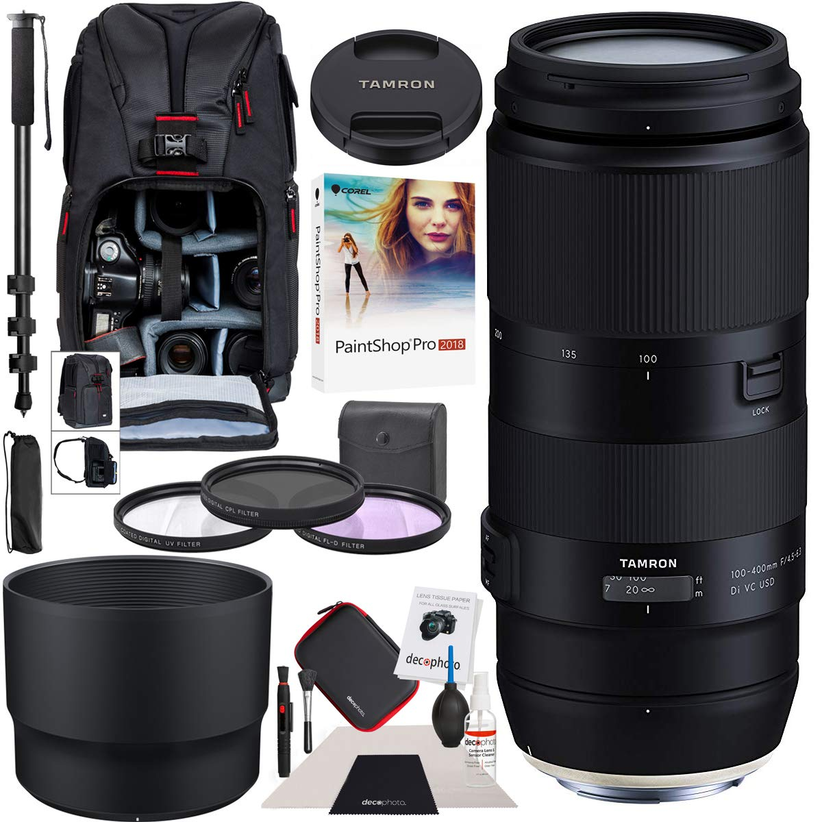 Tamron 100-400mm F/4.5-6.3 Di VC USD Lens for Canon AFA035C-700 Bundle with Sling Backpack, Paintshop Pro 2018, 72-Inch Monopod, 67mm Filter Kit and Cleaning Kit by Tamron