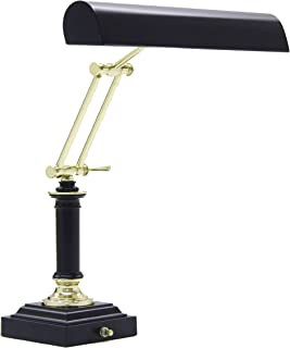 product image for House of Troy P14-233-617 16-1/2-Inch Portable Desk/Piano Lamp, Black with Polished Brass Accents
