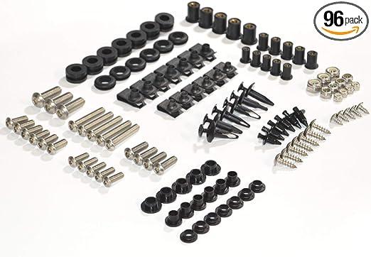 LoveMoto Full Motorcycle Fairing Bolt Screw Kit For Honda CBR 900 RR 954 02 03 CBR 900 RR 954 2002 2003 New Body Screws Aluminum Fasteners Hardware Clips Black Silver