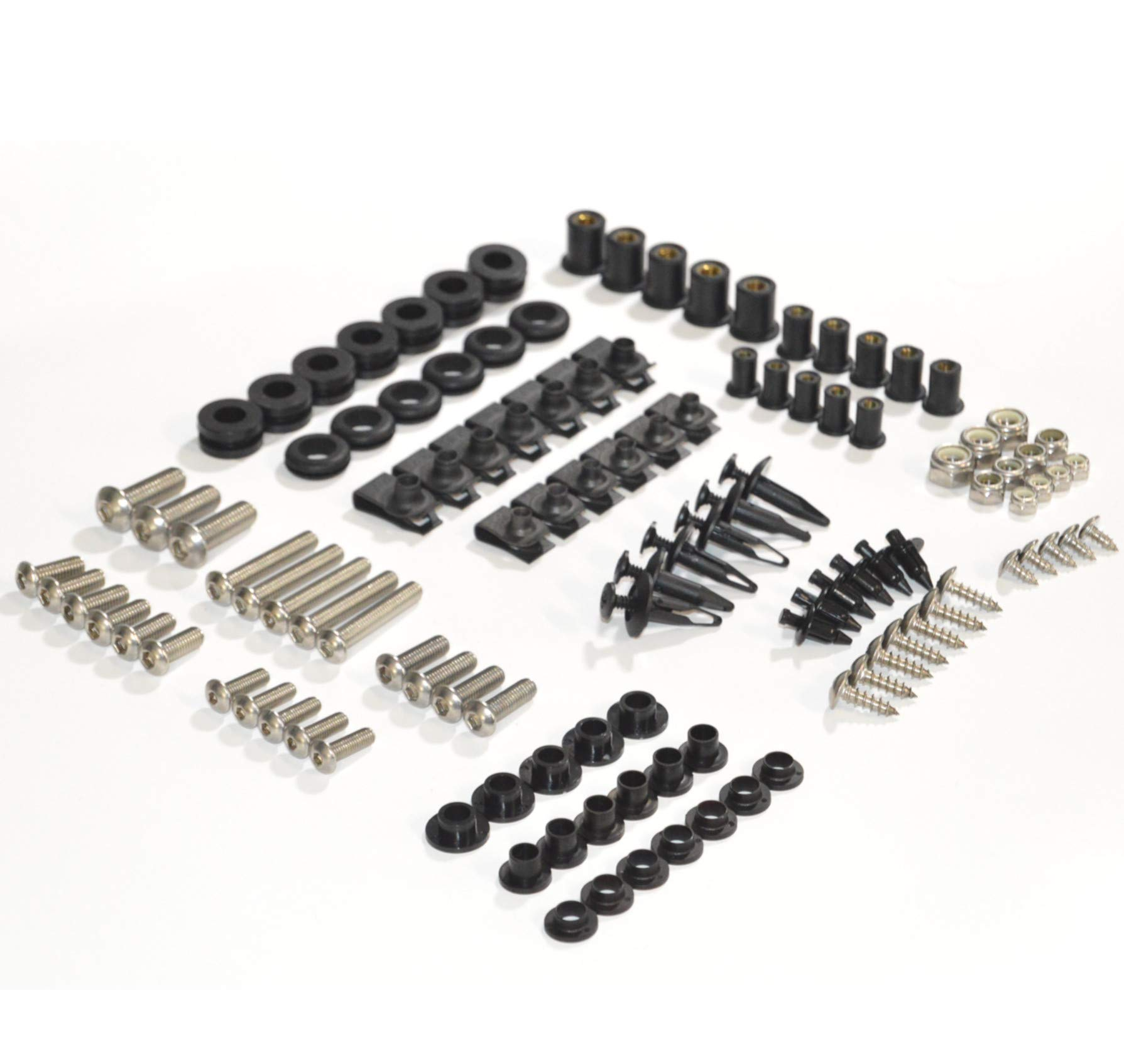 Complete Motorcycle Fairing Bolt Kit Kawasaki ZX-6R ZX-6RR 2005-2006 Body Screws, Fasteners, and Hardware