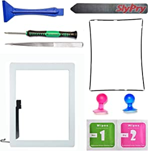 Prokit Adhesive White Ipad 4 Digitizer Touch Screen Front Glass Assembly - Includes Home Button + Camera Holder + Frame Bezel + Preinstalled Adhesive + Cleaning Kit with Slypry Premium Tool Kit