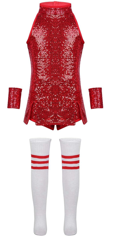 iiniim Costume de Sport Enfant Fille Sequins Robe de Danse Jazz Hip Hop Cheerleaders Performance V/êtements de Danse Moderne Tenue No/ël Carnaval F/ête Sportswear Dancewear