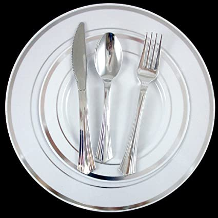 240 Bulk Dinner Wedding Disposable Plastic Plates Silverware Party Silver Rim !  sc 1 st  Amazon.com & Amazon.com: 240 Bulk Dinner Wedding Disposable Plastic Plates ...