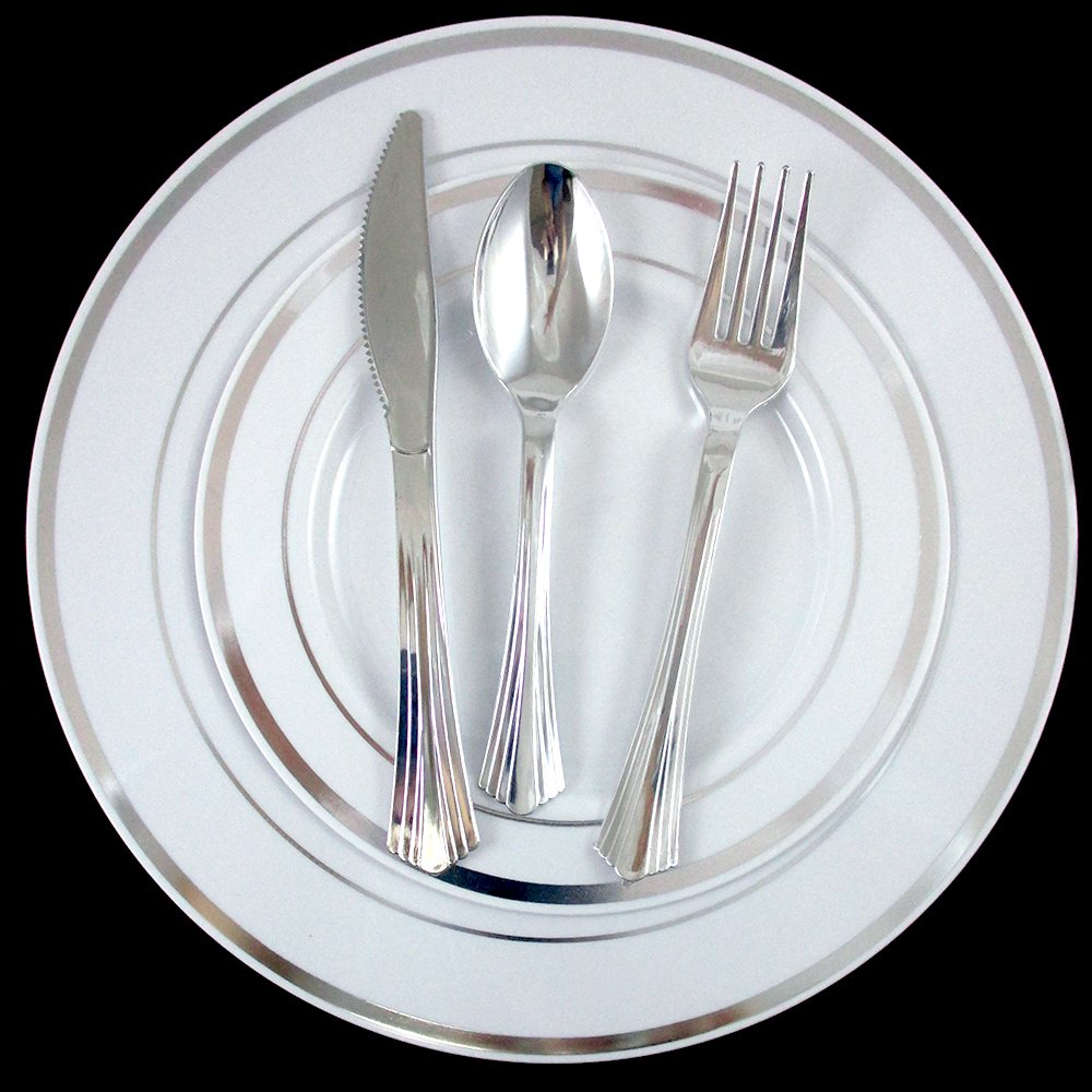 240 Bulk Dinner Wedding Disposable Plastic Plates Silverware Party Silver Rim !