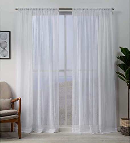 Exclusive Home Curtains Hemstitch Sheer Embellished Rod Pocket Top Curtain Panel Pair - a good cheap window curtain panel