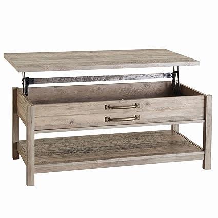 Amazoncom Farmhouse Lift Top Coffee Table Open Shelf And Hidden