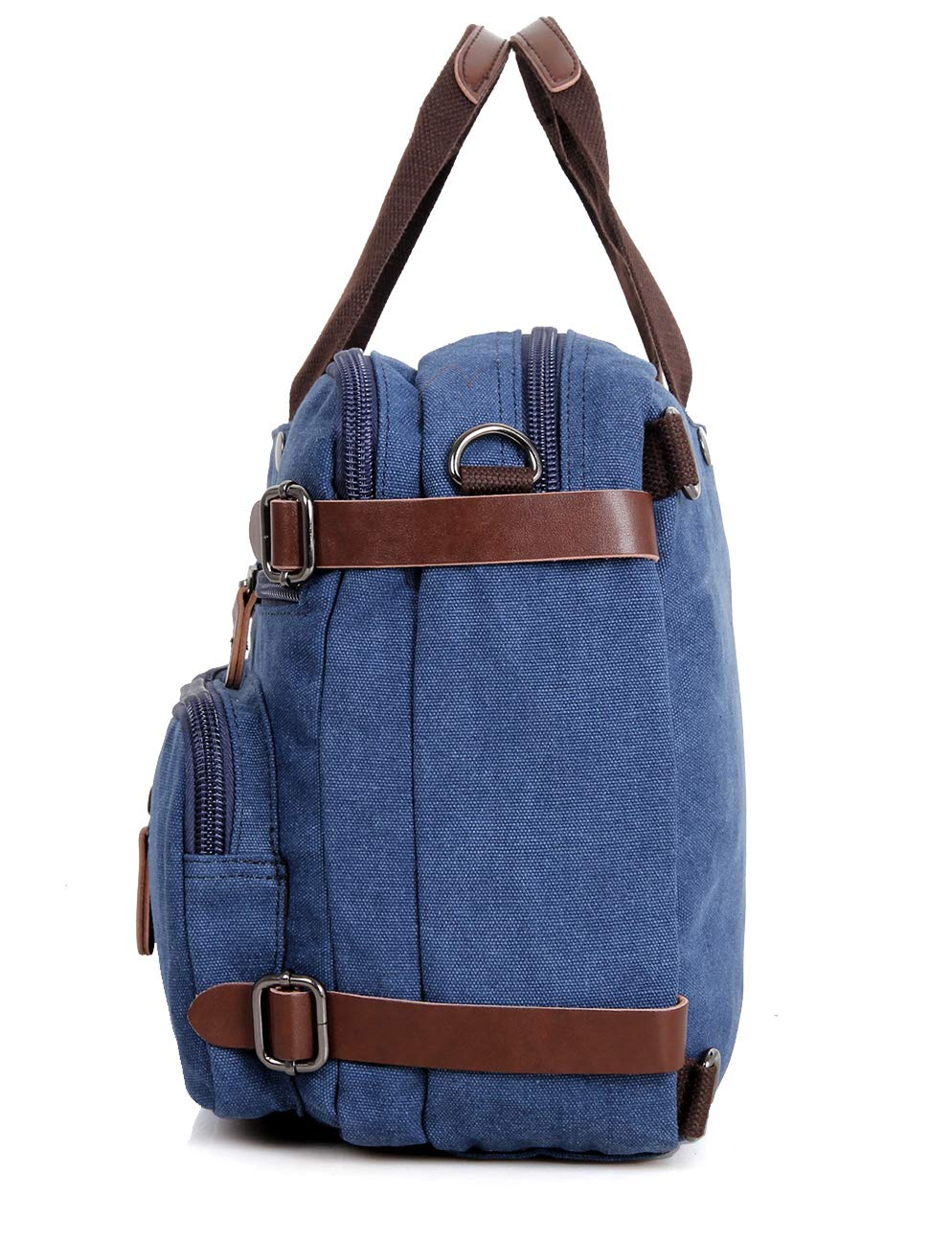 Clean Vintage Laptop Bag Hybrid Backpack Messenger Bag/Convertible Briefcase Backpack Satchel for Men Women- BookBag Rucksack Daypack-Waxed Canvas Leather, Blue by Clean Vintage (Image #4)