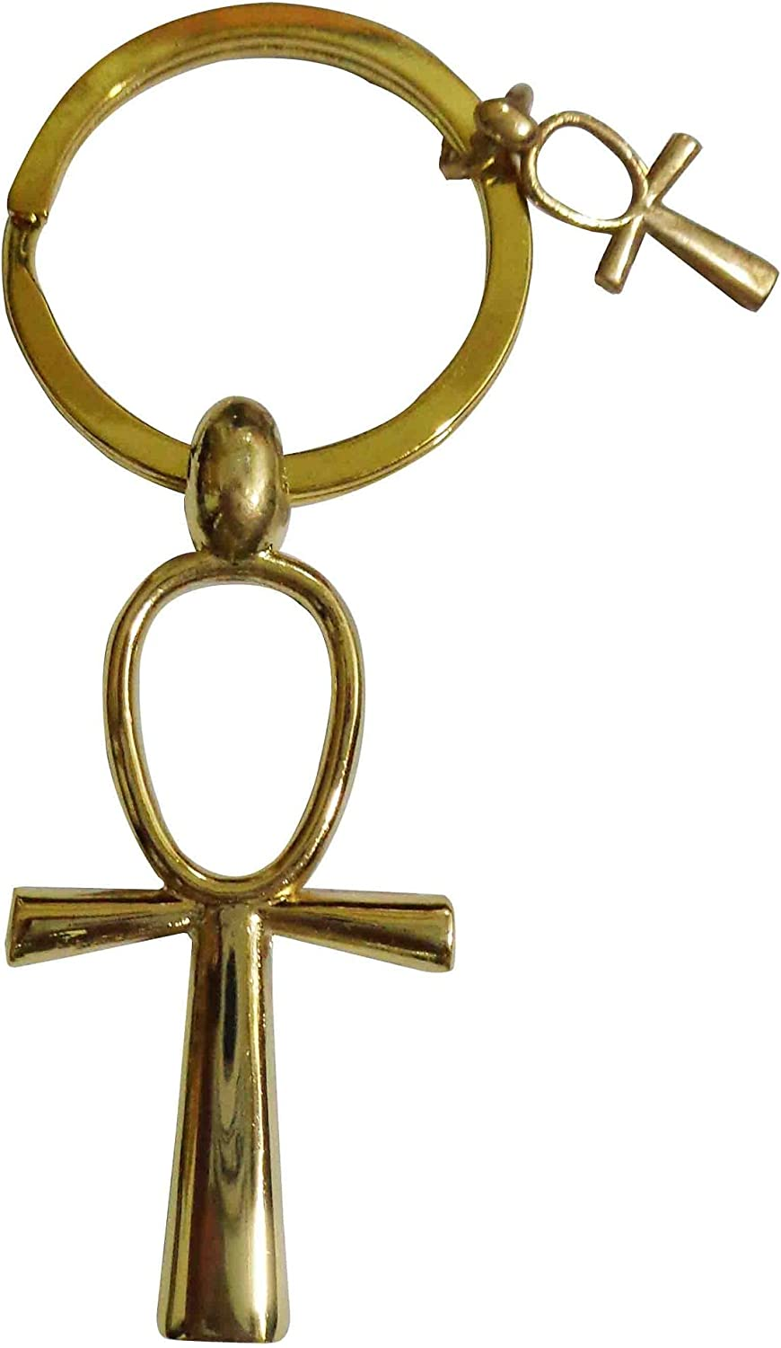 "Ankh Cross Egyptian Keychain Key Chain Ring Pewter key of life 4.2/"" Pharaoh 208"