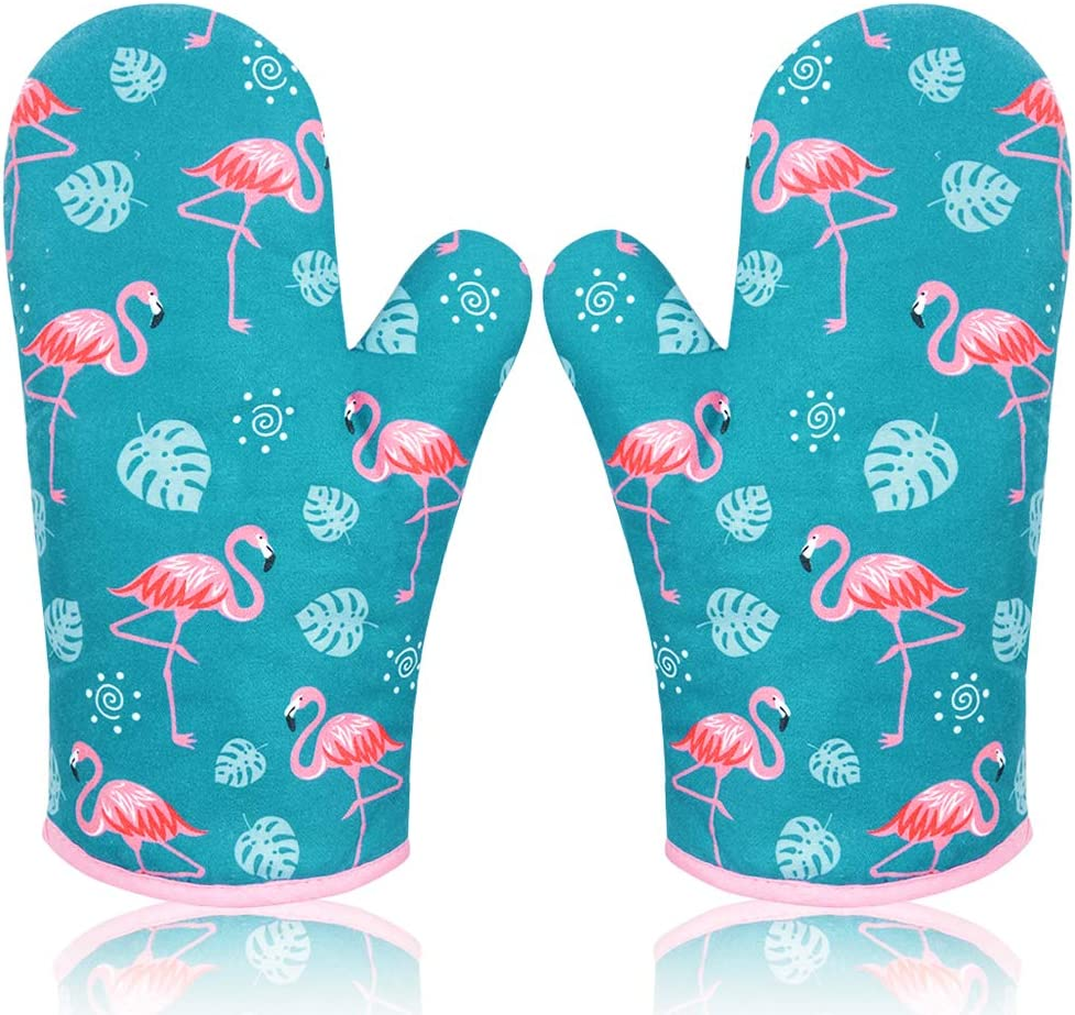 AYADA Oven Mitts Kitchen Oven Gloves Heat Resistant with Soft Thick Cotton Lining for Microwave Cooking Baking Grilling BBQ Safe, Cute Oven Mitts for Women Girls, 1 Pair Flamingo (Green)