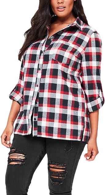 Mujer Camisas Manga Larga Elegantes Clásico Especial A Cuadros Blusones Invierno Otoño Basicas Anchas Casual Camisetas Tops Classic Moda De Solapa con Botones Blusas T Shirt: Amazon.es: Ropa y accesorios