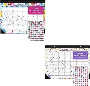 "Desk Calendar 2021, Wall Calendar 12 Monthly Desktop Pad Calendar 17"" x 12"", Jan 2021-Dec 2021 Academic Year Daily Schedule Planner Organizer for Home Office, Ruled Blocks"