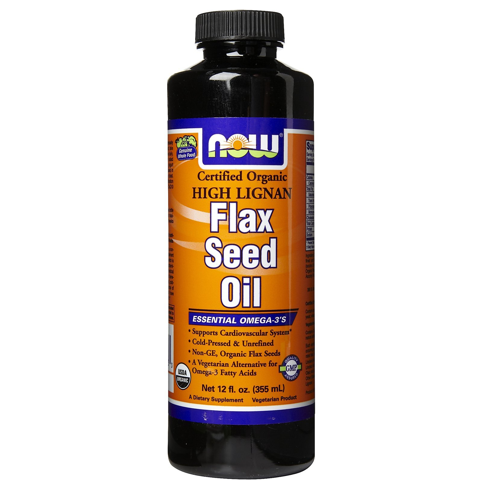 Organic High Lignan Flax Oil Liquid, 12 OZ by Now Foods (Pack of 6)