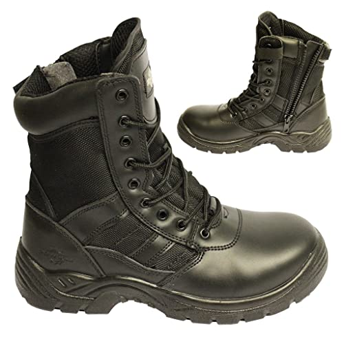 addb7cbf9d6 POWCOG Delta: Comfortable Black Leather Military Patrol Combat Boots with  Sturdy Side Zip and Safety Steel Toe Cap