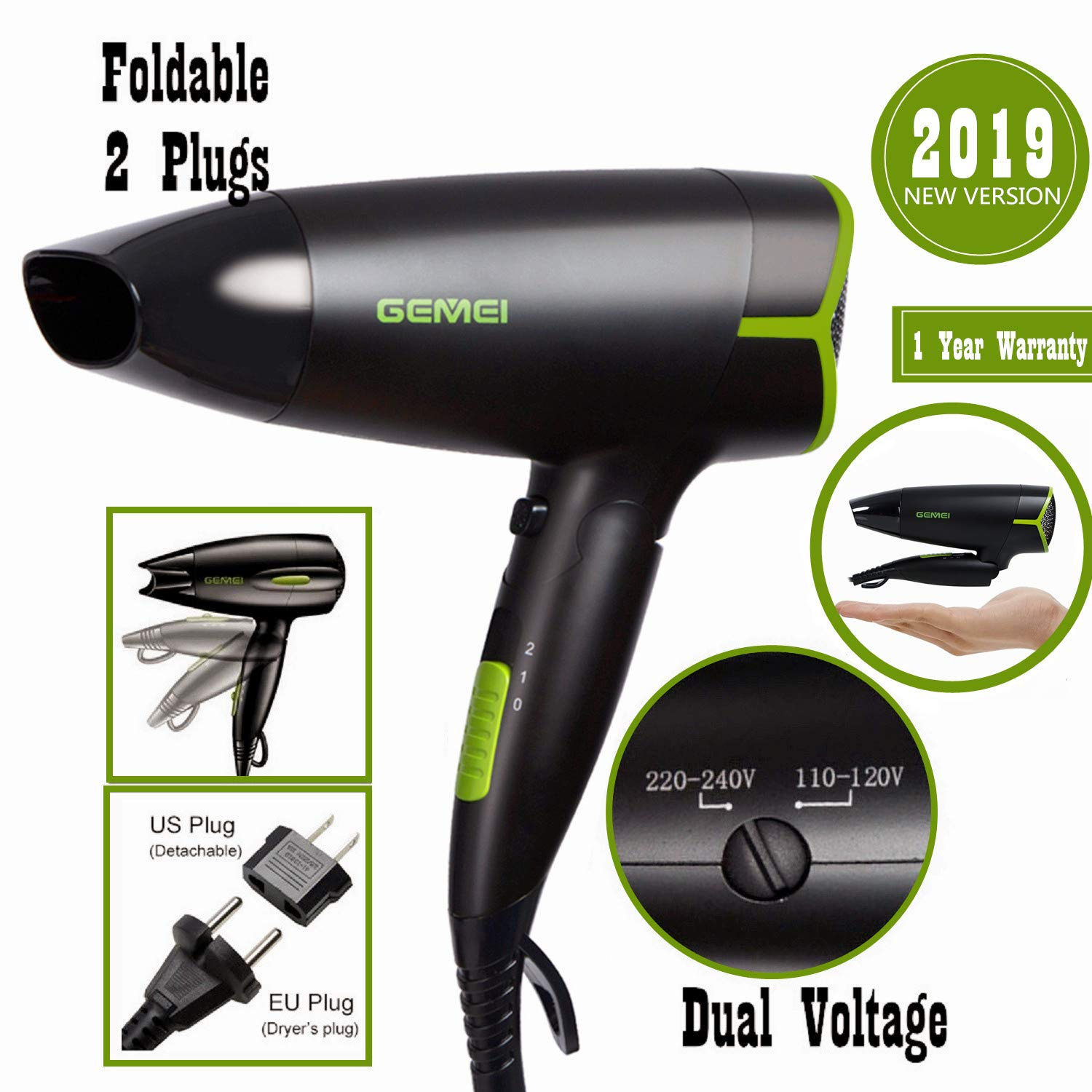 Folding Blow Dryer for Travel,Dual Voltage Hair Dryer,1200 to 1600W Professional Compact Small Negative Ionic Lightweight Worldwide 100-240V Hair Dryer,Cool Shot Button,Mini 9x10 Inch,Gifts for Women